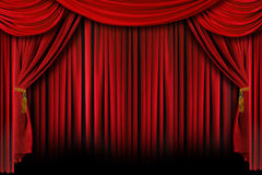 Red Drapes With Deep Shadows Royalty Free Stock Image
