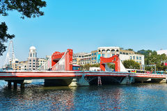 Red drawbridge. As  urban scenery and city skyline in Zhongshan City, Guangdong (Canton) Province, China, Asia Royalty Free Stock Images