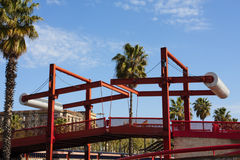 Red drawbridge. Royalty Free Stock Photos
