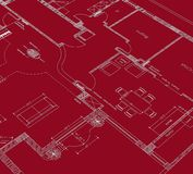 Red drawing cad. House planning cad on red background Stock Images