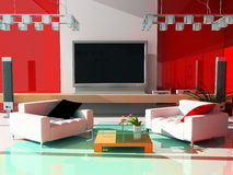 RED drawing room. Interior of a modern drawing room 3d rendering Stock Photo