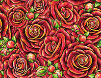 Red drawn roses seamless background. Flowers illustration front view. Handwork by felt-tip pens. Pattern in retro vintage style fo Stock Photo