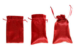 Red drawstring bag packaging isolated Royalty Free Stock Photos