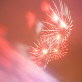 Red dreamy fireworks Royalty Free Stock Image