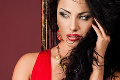 in red dress Royalty Free Stock Photography