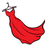 Red dress. Illustration of red dress hanging on coat hanger Stock Photo