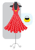Red dress. Romantic dress for woman with yellow bag Stock Photography