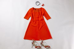 Red dress and accessories funny stop motion animation. Fashion, style or romance concepts stock footage