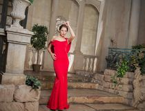 In a red dress Royalty Free Stock Image