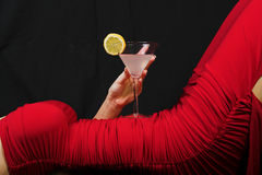 Red dress and cocktail Royalty Free Stock Photography
