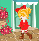 Red dress cute look. Illustration of cute girl dressing up with red dress Royalty Free Stock Images