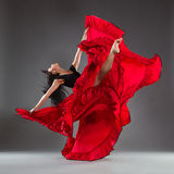 Red dress and dance emotions Royalty Free Stock Photos