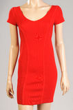 Red dress female mannequin. On gray background Stock Photography