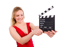 The red dress girl holding clapboard isolated on Stock Image