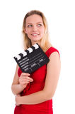 The red dress girl holding clapboard isolated on Royalty Free Stock Image