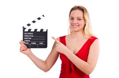 The red dress girl holding clapboard isolated on Stock Photography