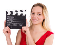 The red dress girl holding clapboard isolated on Royalty Free Stock Photos