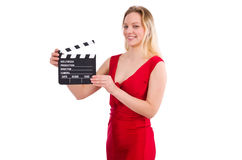 Red dress girl holding clapboard isolated on white Stock Photography