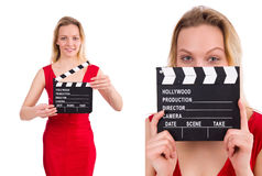 The red dress girl holding clapboard isolated on white Stock Image