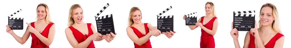 The red dress girl holding clapboard isolated on white Royalty Free Stock Images