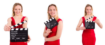 The red dress girl holding clapboard isolated on white Stock Photo