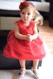 Red dress girl Stock Photos
