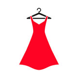 Red dress on hanger. Woman red dress on hanger. Dress Icon Royalty Free Stock Photo