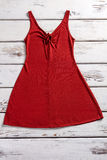 Red dress with keyhole neckline. Stock Photo