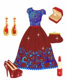 Red dress with lace Royalty Free Stock Photos