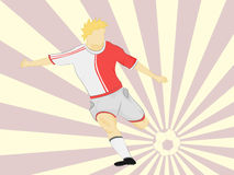 Red dress soccer player shooting on striped background vector Royalty Free Stock Photography