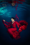 Red dress underwater Royalty Free Stock Images