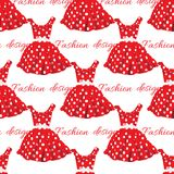 Red dress with white polka dot design. Vector Stock Images