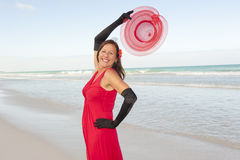 Red Dress Woman Beach Holiday Royalty Free Stock Photos