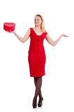 Red dress woman holding gift box isolated on white Stock Photo