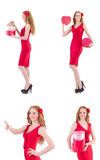 The red dress woman holding gift box isolated on white Royalty Free Stock Photography