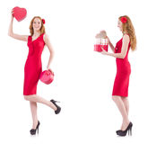The red dress woman holding gift box isolated on white Stock Photos