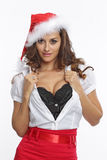 Red dressed sexy santa woman Royalty Free Stock Photos