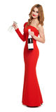 Red dressed woman with champagne and wineglass on white Stock Images