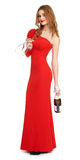 Red dressed woman with champagne and wineglass on white Stock Photos