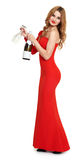 Red dressed woman with champagne and wineglass on white Royalty Free Stock Photo