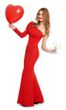 Red dressed woman with heart shape balloon and wineglass on white Royalty Free Stock Photo
