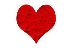 Red dried chapped heart. Dried chapped heart. Dry and crack without love Stock Photo