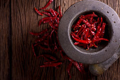 Red dried chili. On wood Stock Image