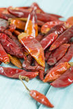 Red Dried Chillies. Dry chillies on a blue background Stock Image