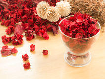 Red Dried flowers in glass on a wooden background Royalty Free Stock Photography