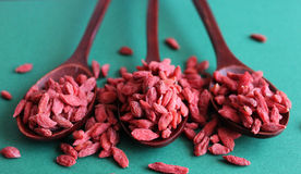 Red dried goji berries on blue background Stock Photos