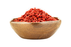 Red dried goji berries (Lycium Barbarum - Wolfberry) in wooden b Stock Image