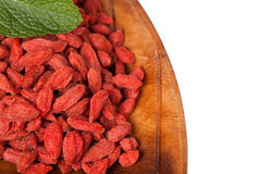 Red dried goji berries in a plat Royalty Free Stock Photos
