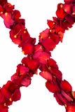 Red dried rose petals forming X Stock Photography