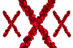 Red dried rose petals forming XXX Stock Photos